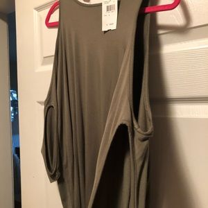 Cold shoulder olive colored top